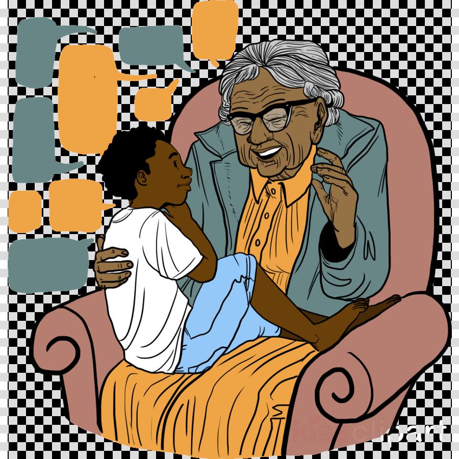 cartoon sharing mother conversation nativity scene