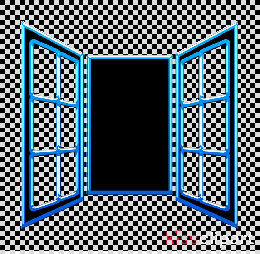 Opened window door of glasses icon House Things icon Window icon