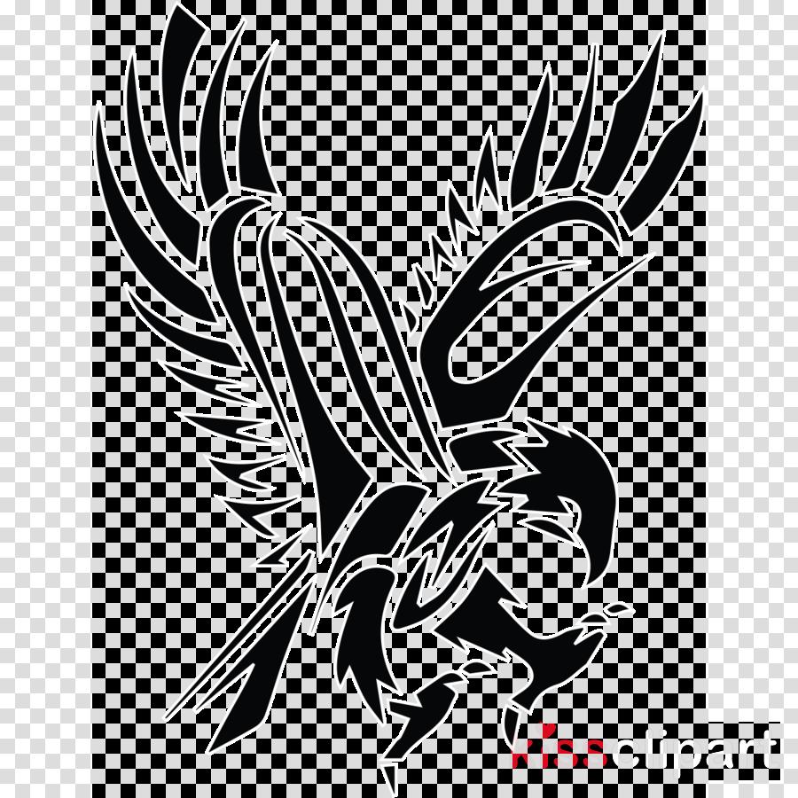 wing eagle stencil bird black-and-white