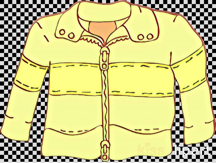 clothing white outerwear yellow jacket