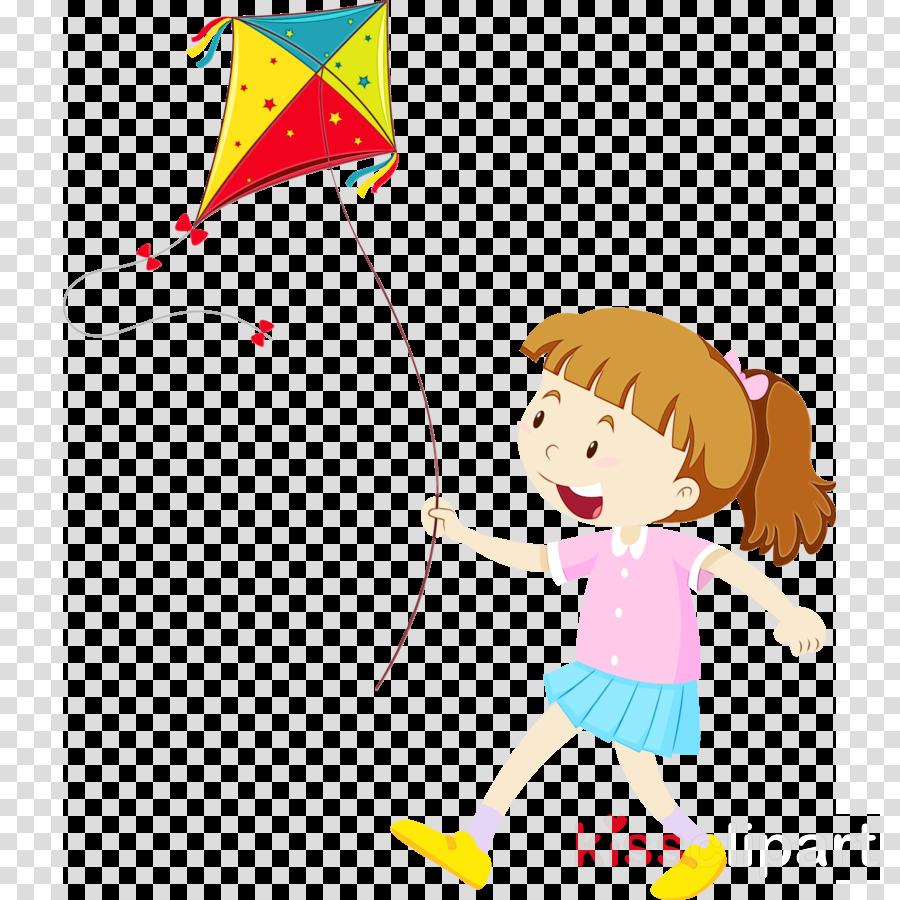 Cartoon Child Kite Happy Party Supply Clipart Cartoon Child