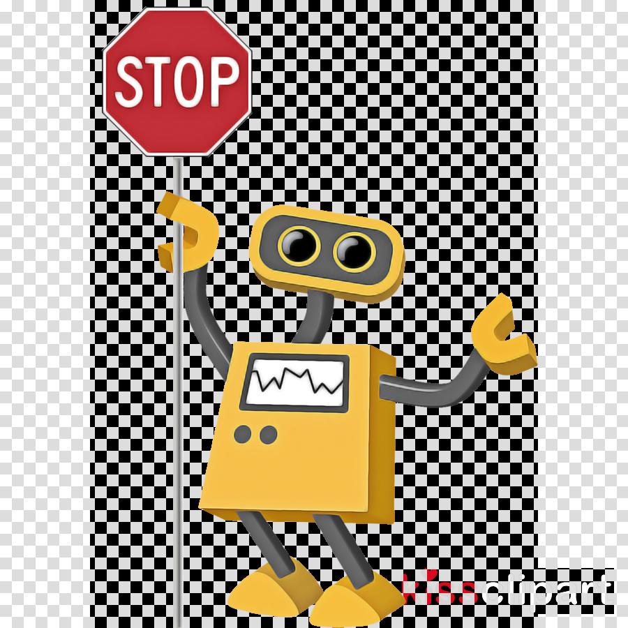 cartoon yellow technology sign traffic sign