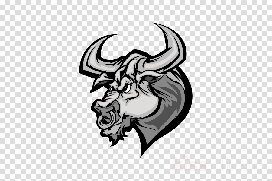 bull horn head bovine black-and-white