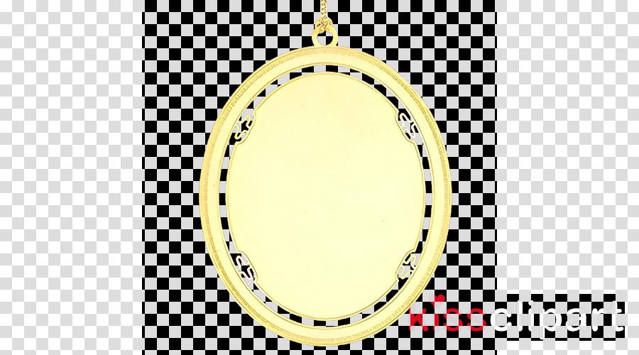 yellow pendant locket oval circle