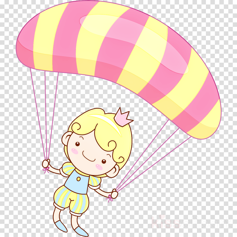 parachute pink cartoon line umbrella