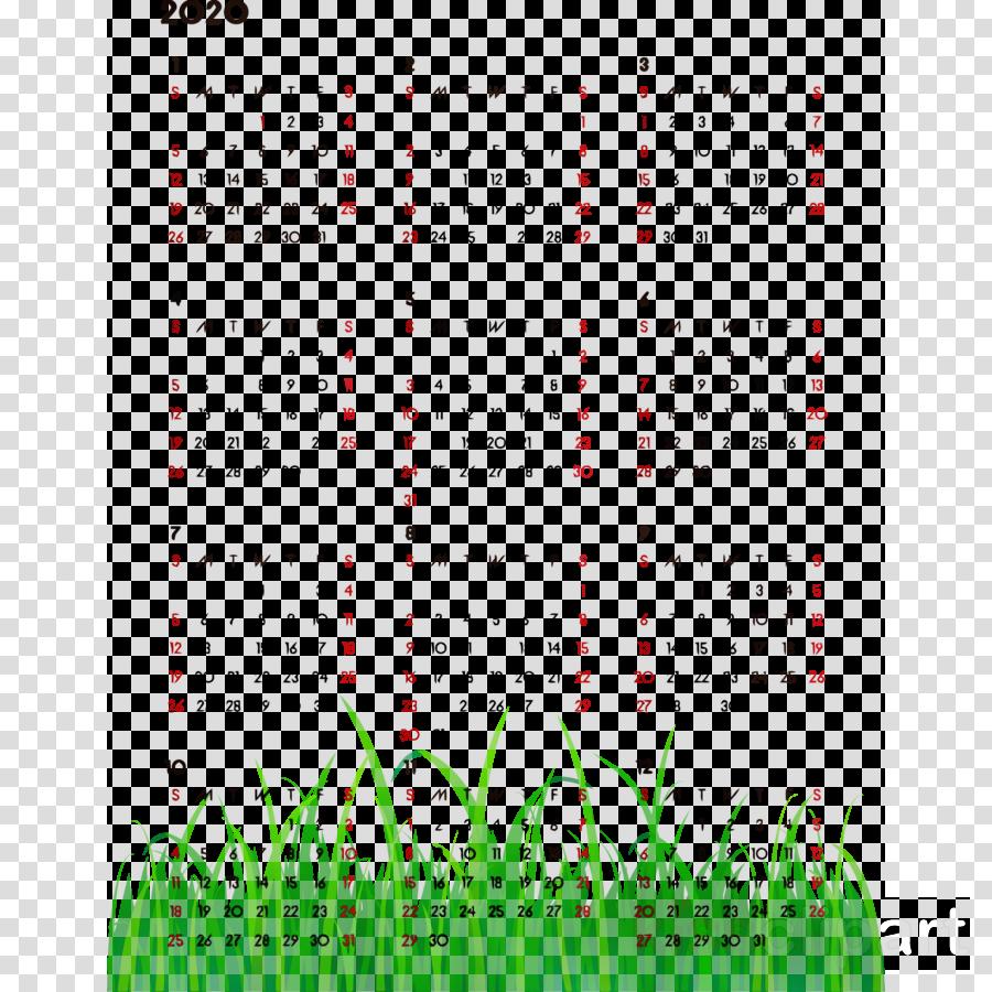 green text calendar font line