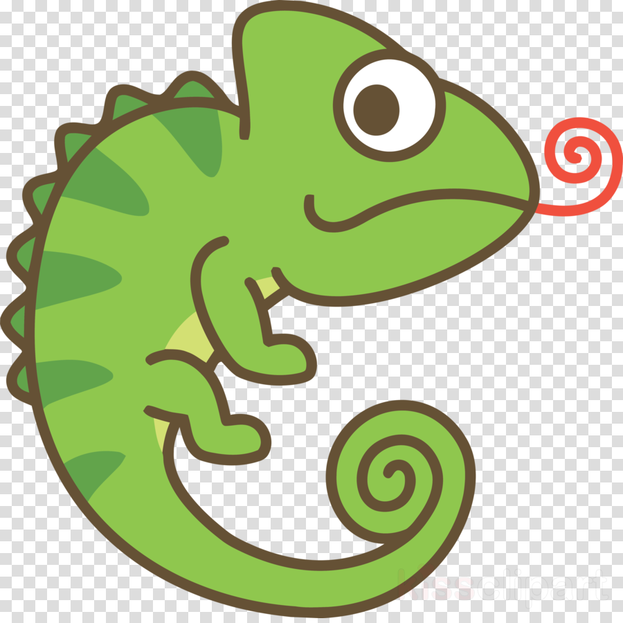 green lizard chameleon cartoon reptile