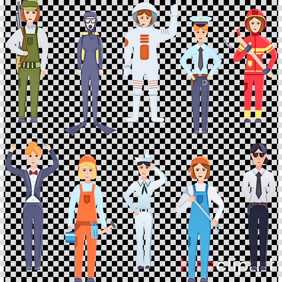 cartoon standing uniform team