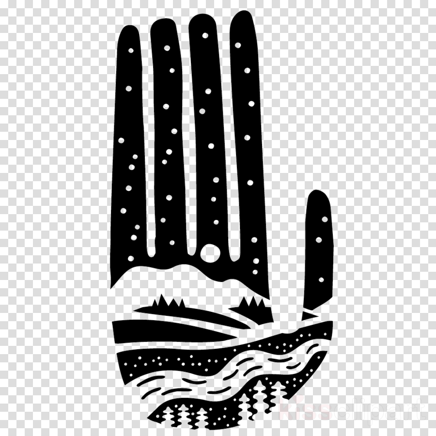 saguaro hand black-and-white pattern
