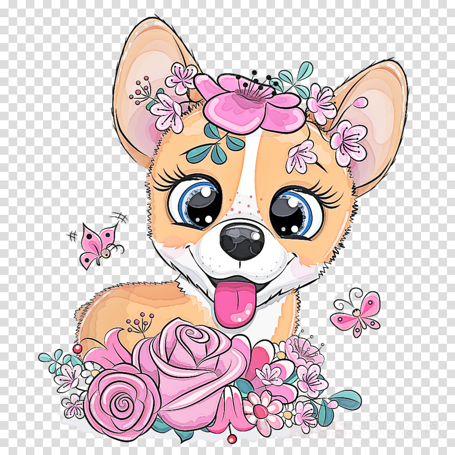cartoon dog chihuahua pink puppy