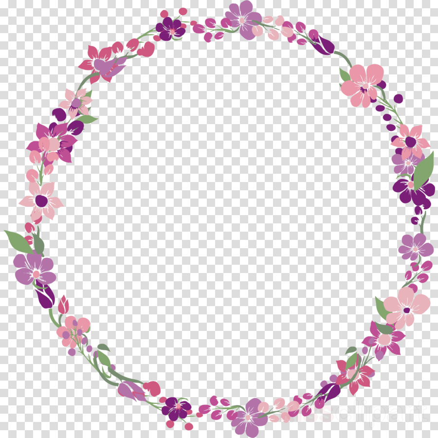 Flower Circle Frame Floral Circle Frame Clipart Pink Body