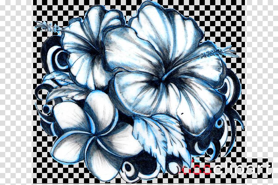 hawaiian hibiscus hibiscus plant flower black-and-white