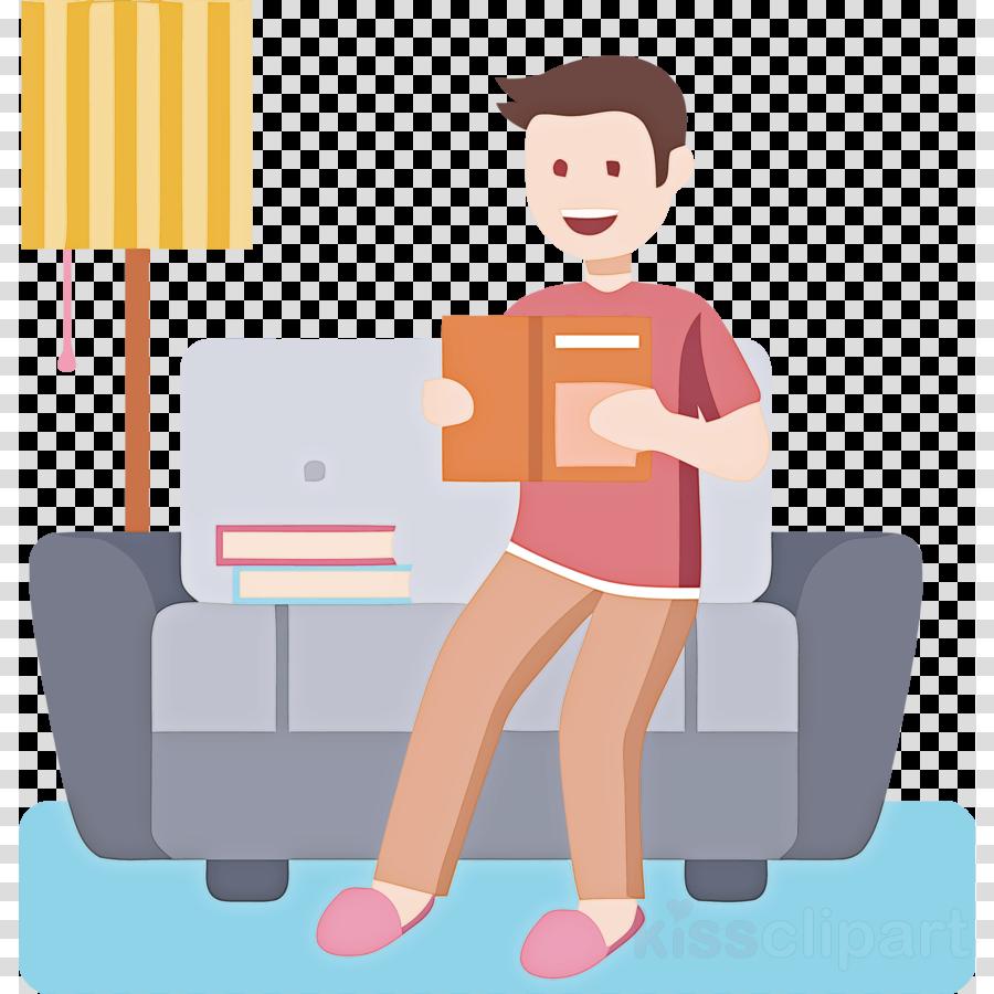 cartoon sitting furniture reading baggage