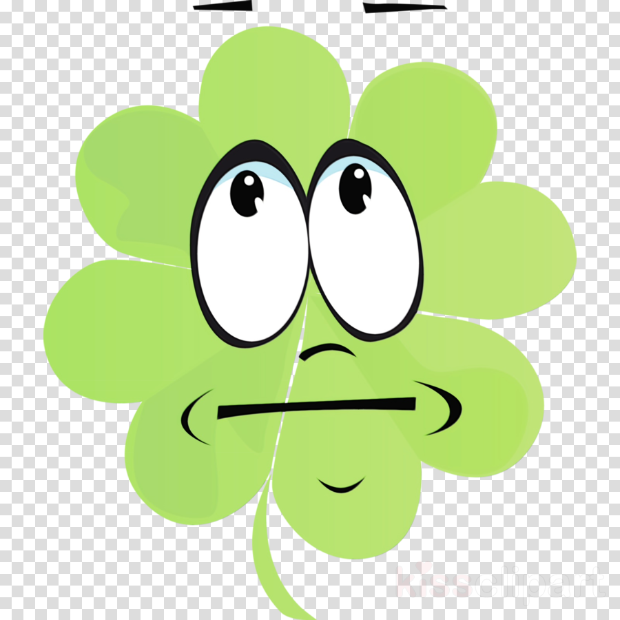 green cartoon leaf line smile