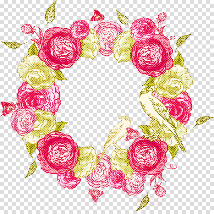 Flower Circle Frame Floral Circle Frame Clipart Pink Rose Cut