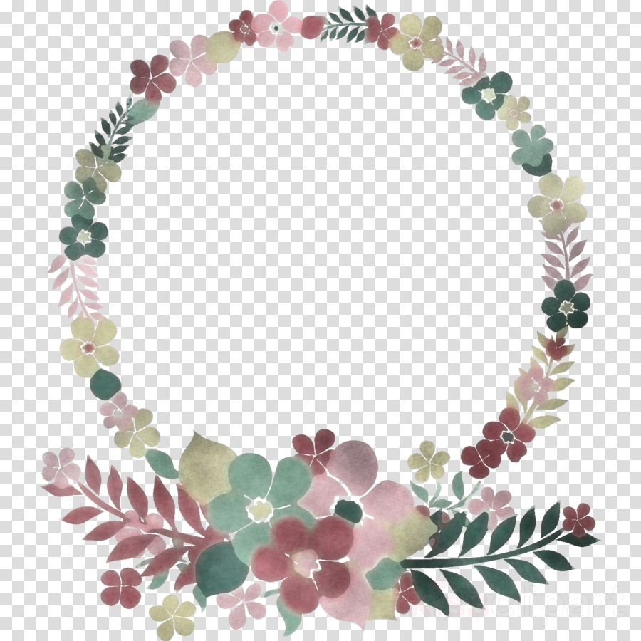 Flower Circle Frame Floral Circle Frame Clipart Leaf Jewellery