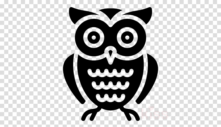 owl cartoon bird bird of prey black-and-white