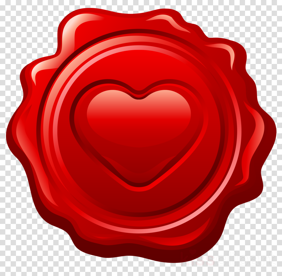 red heart stamp seal