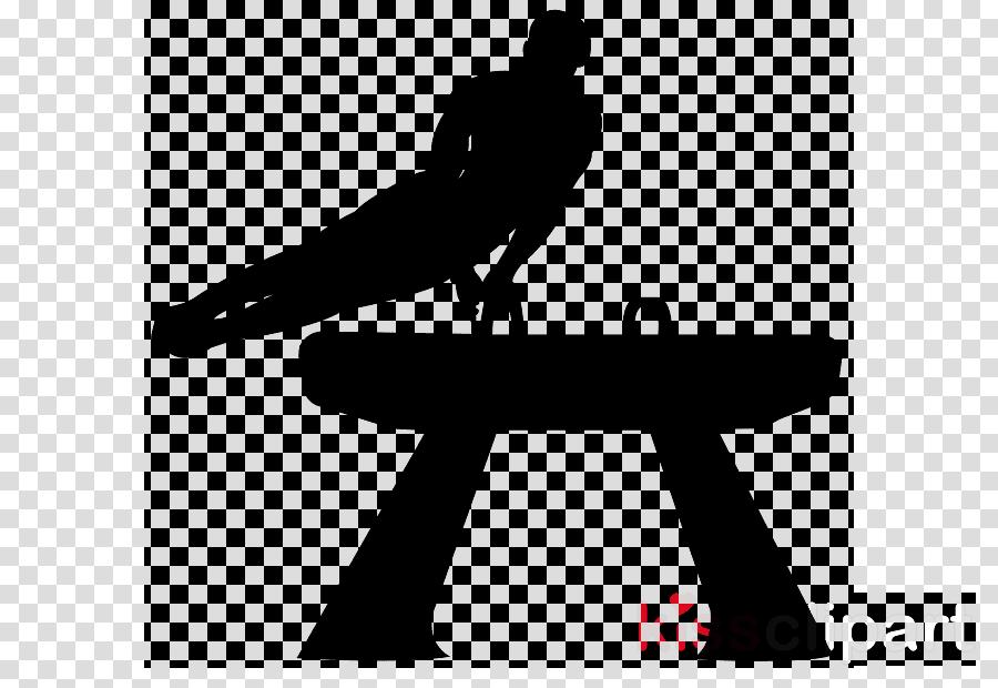 silhouette sitting standing pommel horse black-and-white