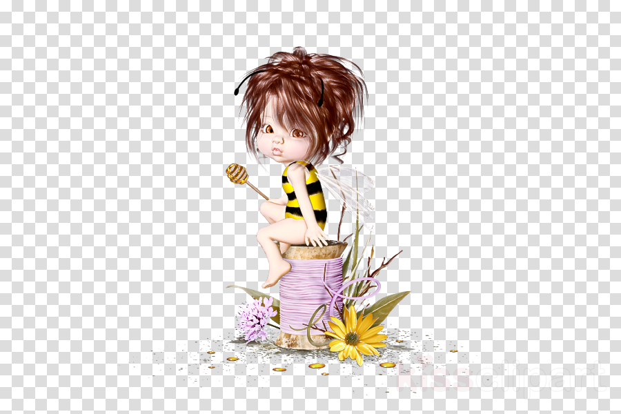 cartoon yellow brown hair child plant