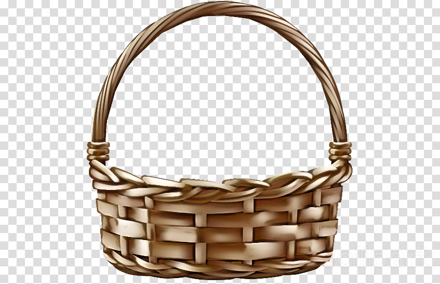 beige wicker basket metal