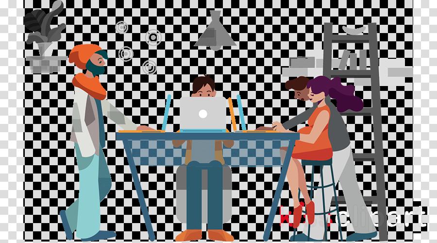 cartoon table conversation job furniture