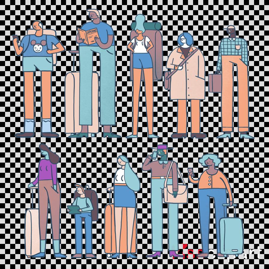 cartoon standing line queue area uniform