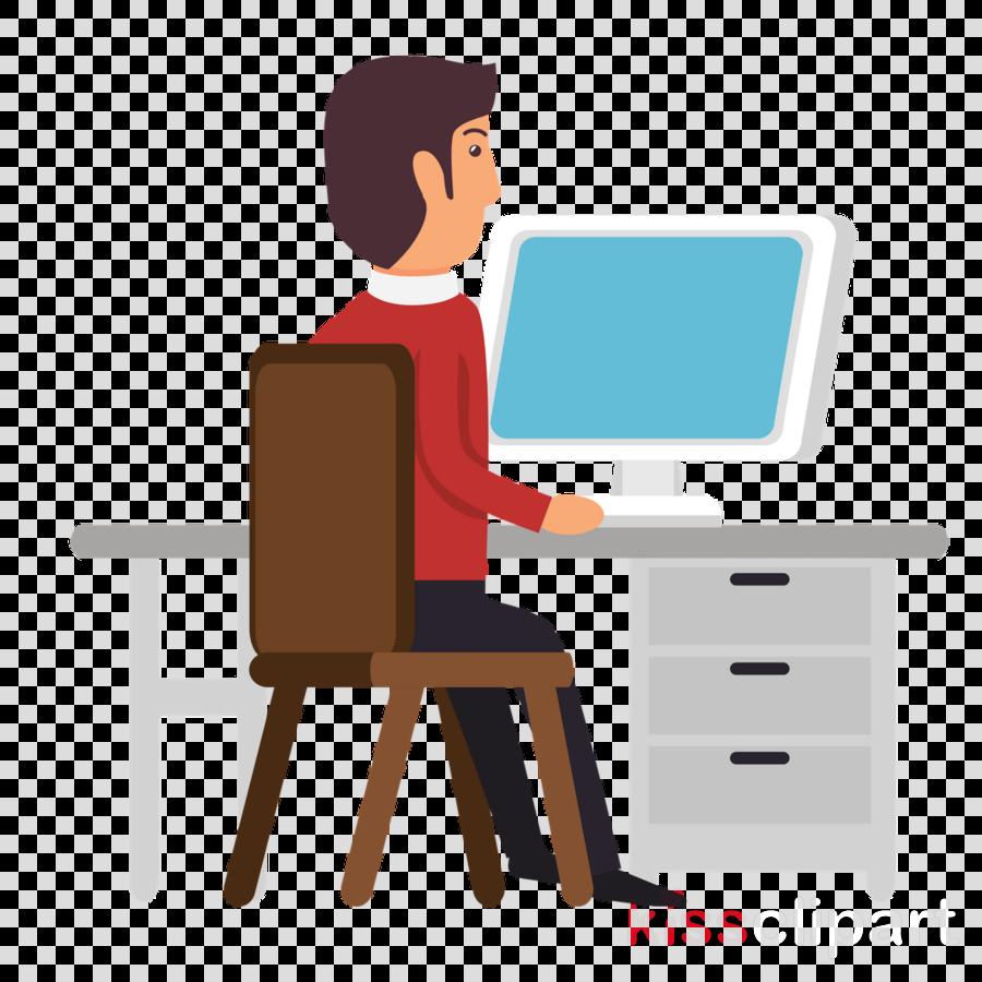 computer desk furniture job desk cartoon