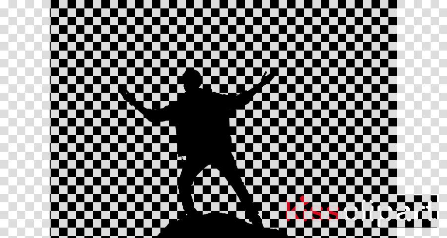 black silhouette white standing happy