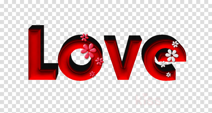 red text logo font love