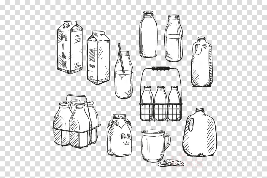 food storage containers line art glass bottle