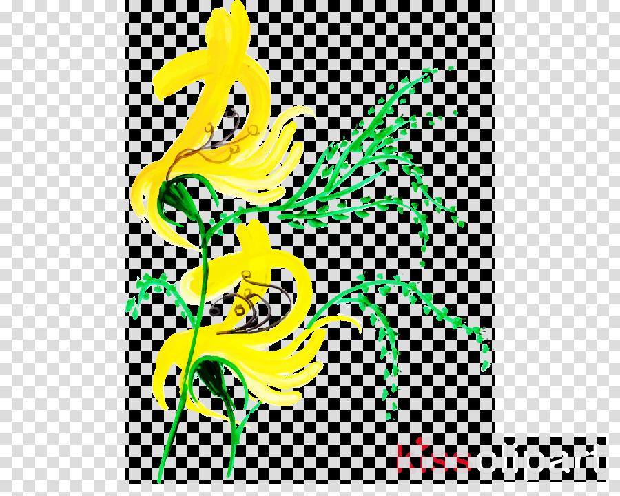 yellow line plant pedicel line art