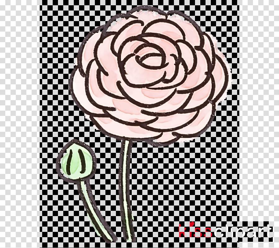 pink cut flowers plant plant stem line art