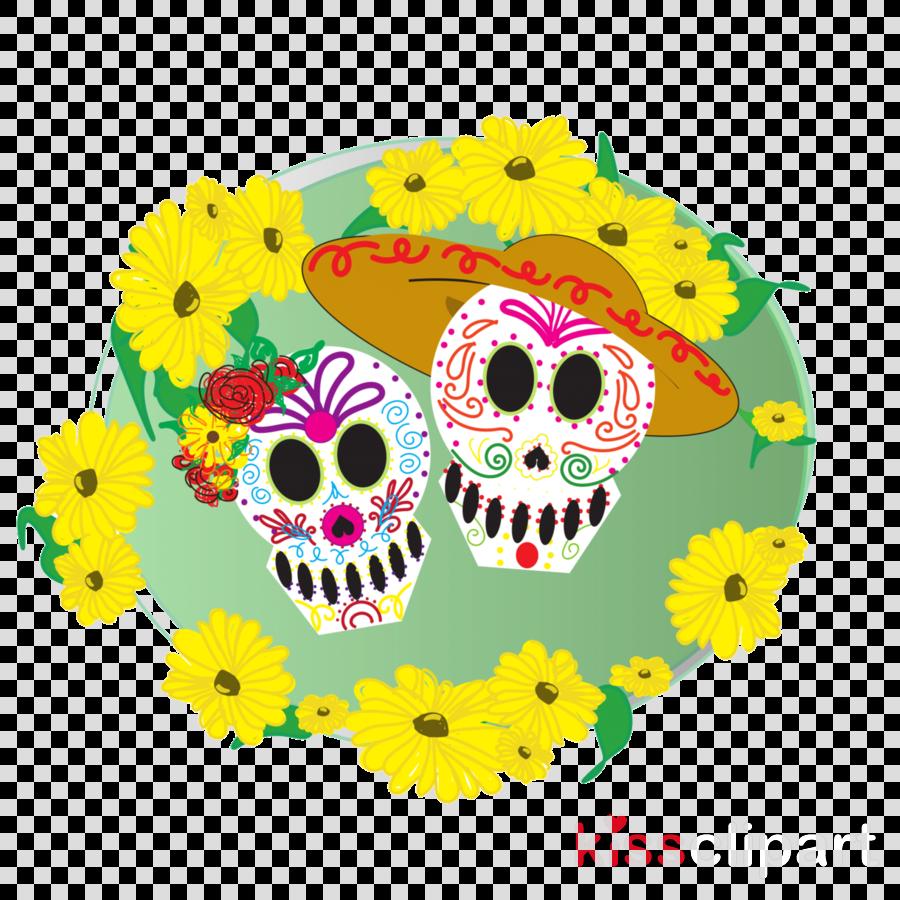 yellow owl bone skull plant