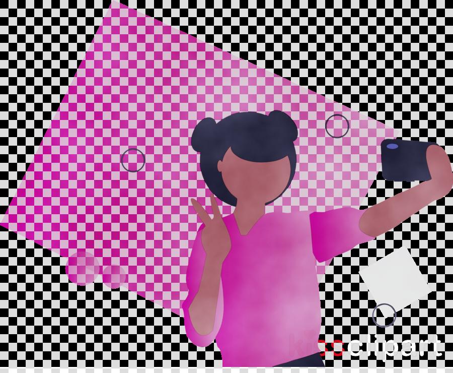 pink cartoon gesture black hair