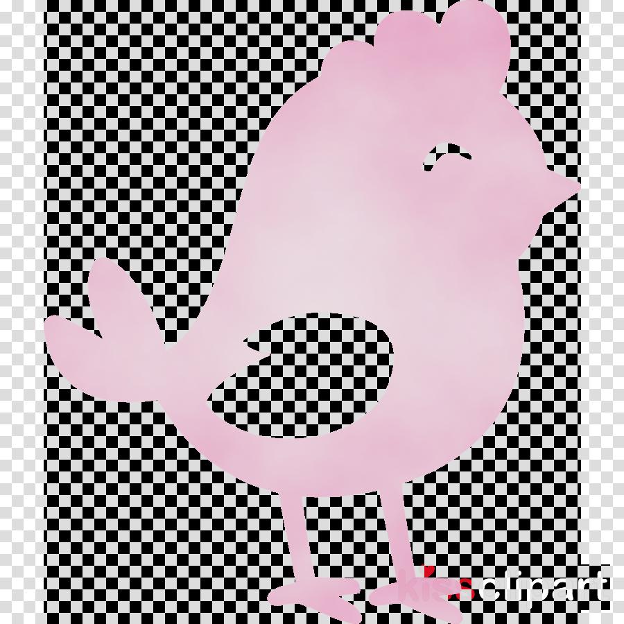 pink cartoon chicken bird