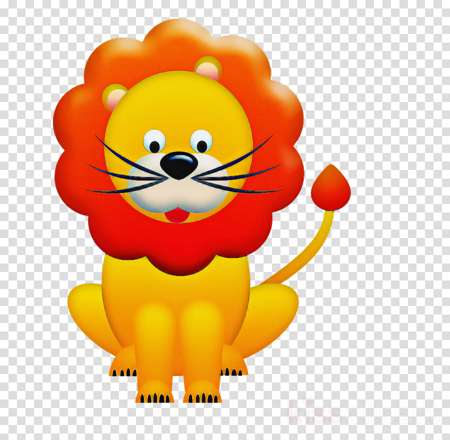 cartoon yellow lion smile balloon