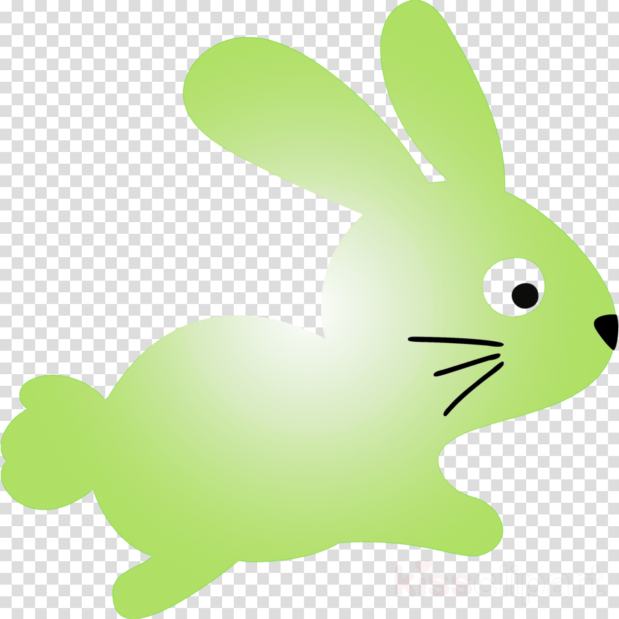 Download Cute Easter Bunny Easter Day Clipart Green Rabbit Rabbits And Hares Transparent Clip Art