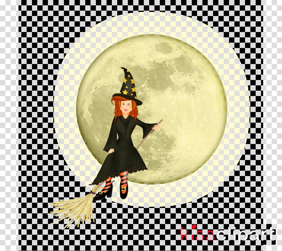 black cat cartoon moon witch hat