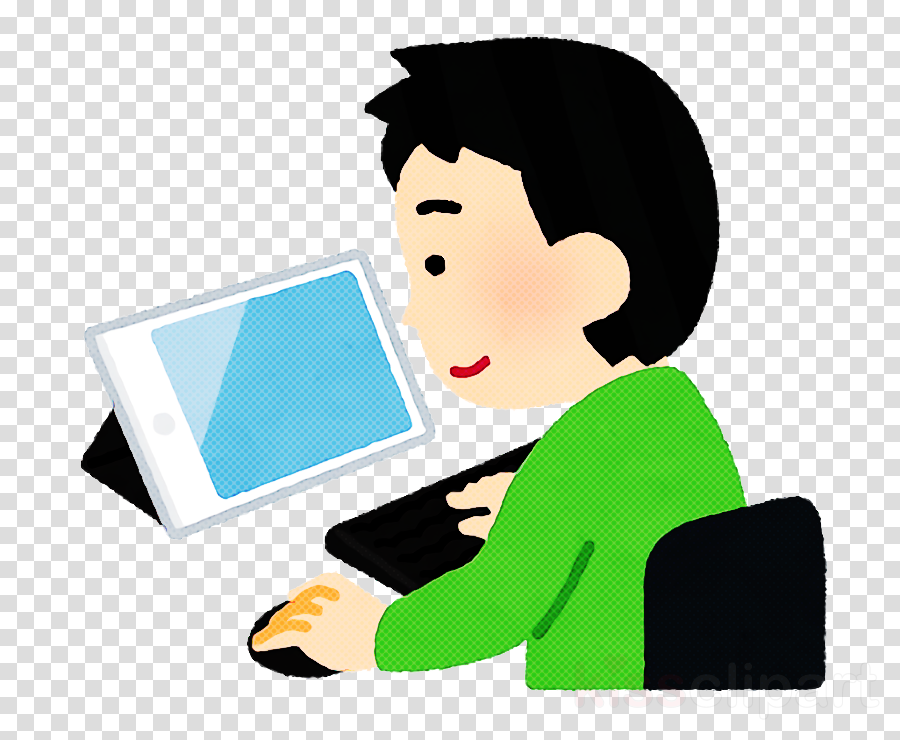 cartoon job technology reading laptop