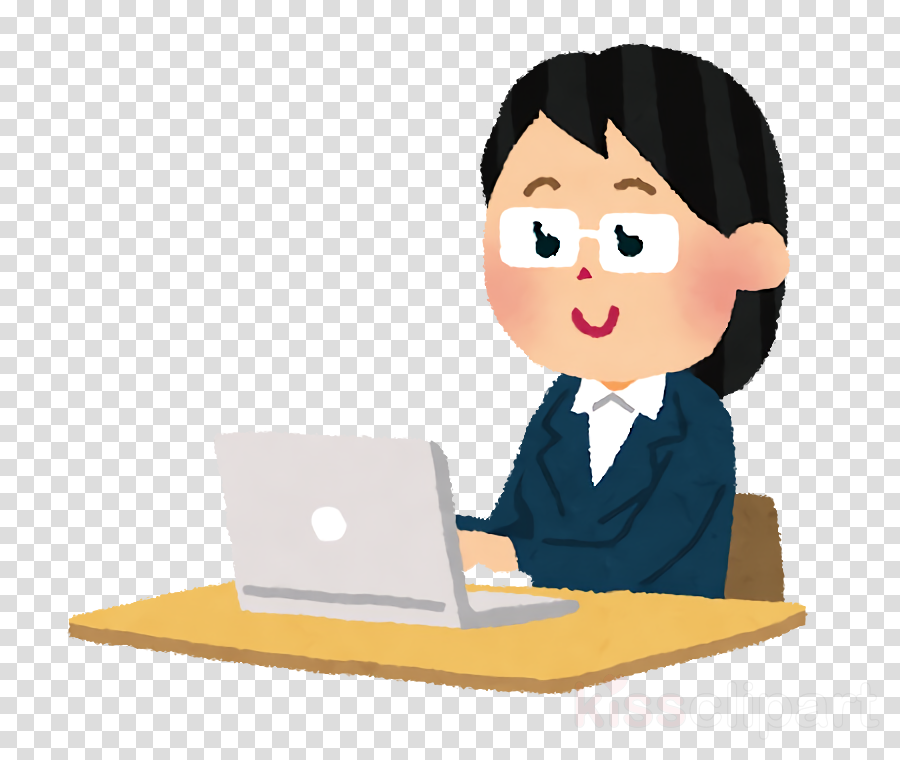 cartoon job learning white-collar worker personal computer