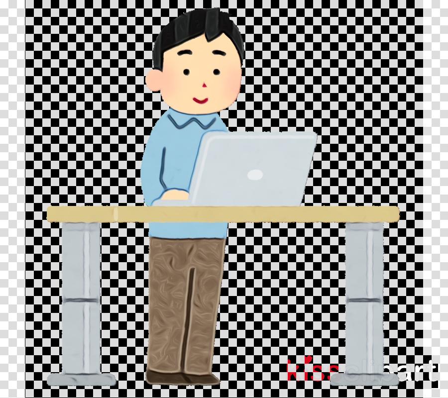 cartoon standing desk job computer desk