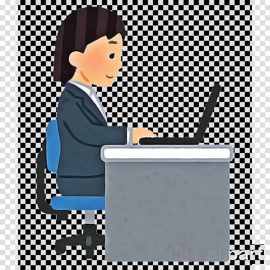 cartoon job sitting desk technology