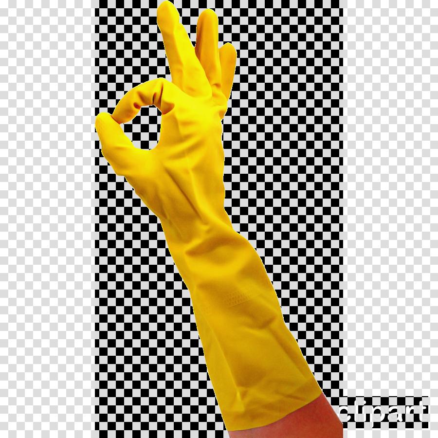 yellow glove hand safety glove arm