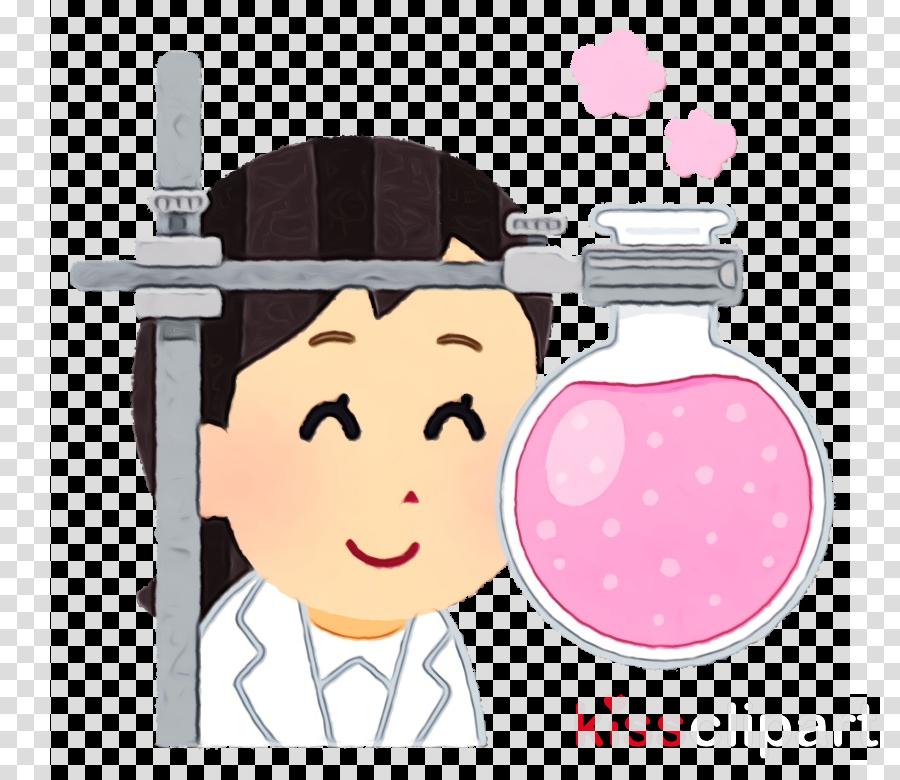 cartoon pink head cheek black hair