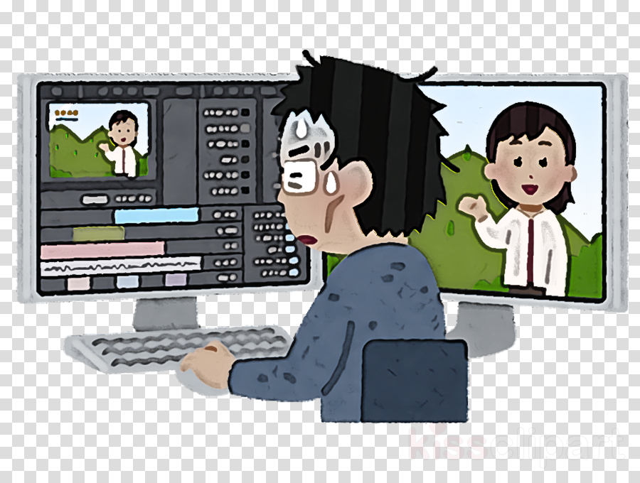 cartoon technology sharing animation white-collar worker
