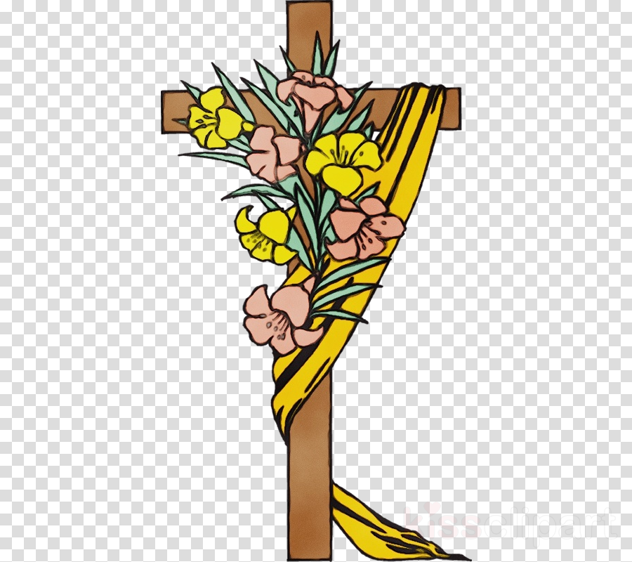 yellow cross religious item cut flowers symbol