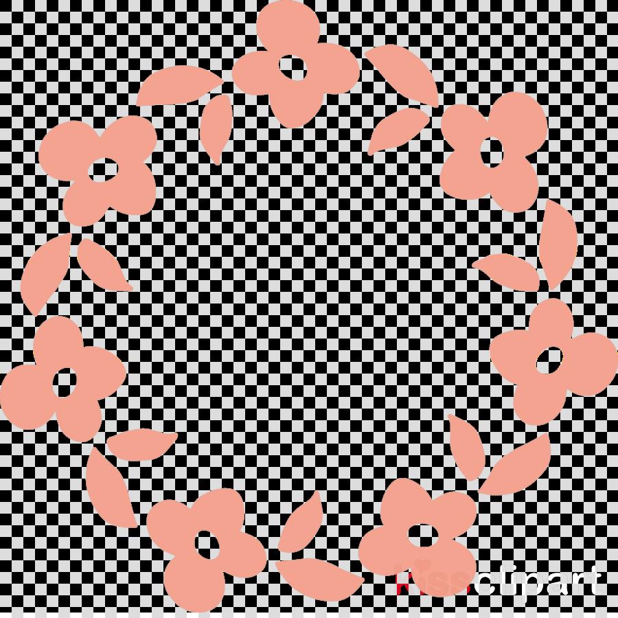 pink circle leaf pattern peach