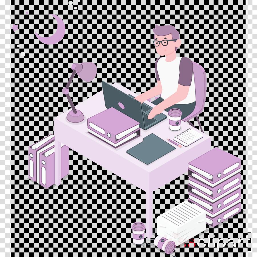 desk cartoon angle purple behavior