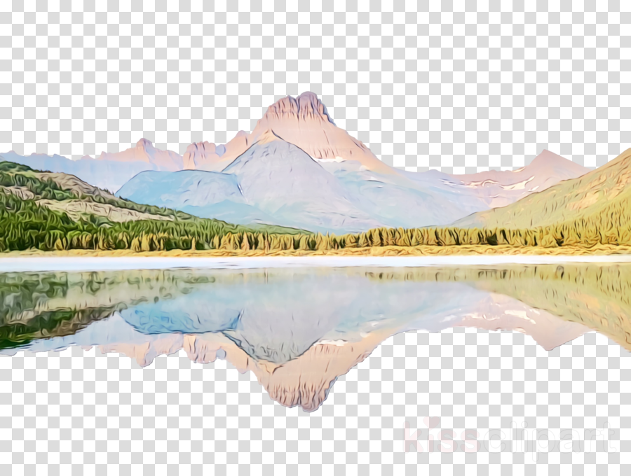 Mountain Reflection with Clip Art